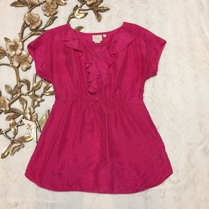 ANTHROPOLOGIE Vanessa Virginia Pink Ruffle Top 4